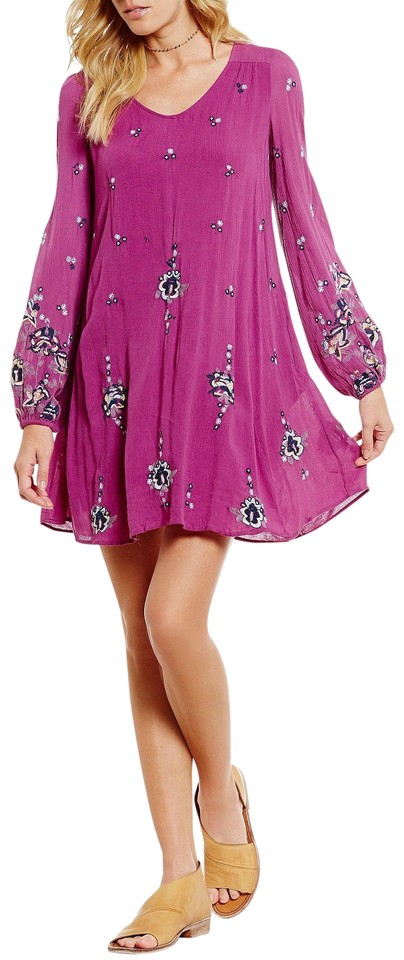 f4ad2b6acaf0 Free People Lilac Combo Oxford Embroidered Mini Short Casual Dress ...