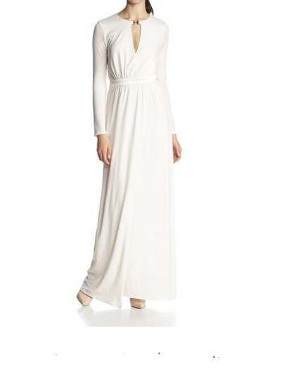 Halston Chalk Long Sleeve Jersey Evening Gown With Slit Front Dress