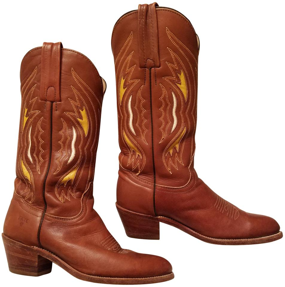Frye Brown 6245 Tan Yellow Cowboy Tall 6245 Brown Boots/Booties a32a41