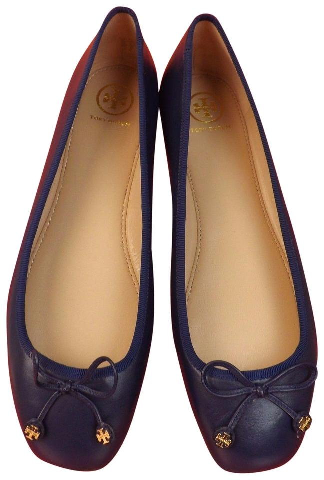 69ba260a1d29 Tory Burch Navy Sea Laila Leather Bow Gold Reva Ballet Driver Flats ...