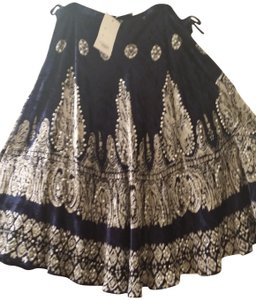 Cactus Flower Skirt Navy blue velvet and silvery white with silver sequins