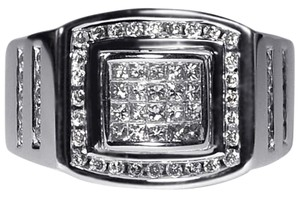 NY Collection Princess Cut Real Diamond Pinky Signet Mens Solid 14K Gold 1-Carat