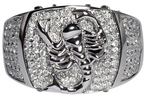 NY Collection Real Diamond Pave Scorpion Zodiac Mens Unique Pinky Signet 14K Gold