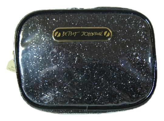 Betsey Johnson Betsey Johnson Black Glitter Glossy Cosmetic Bag