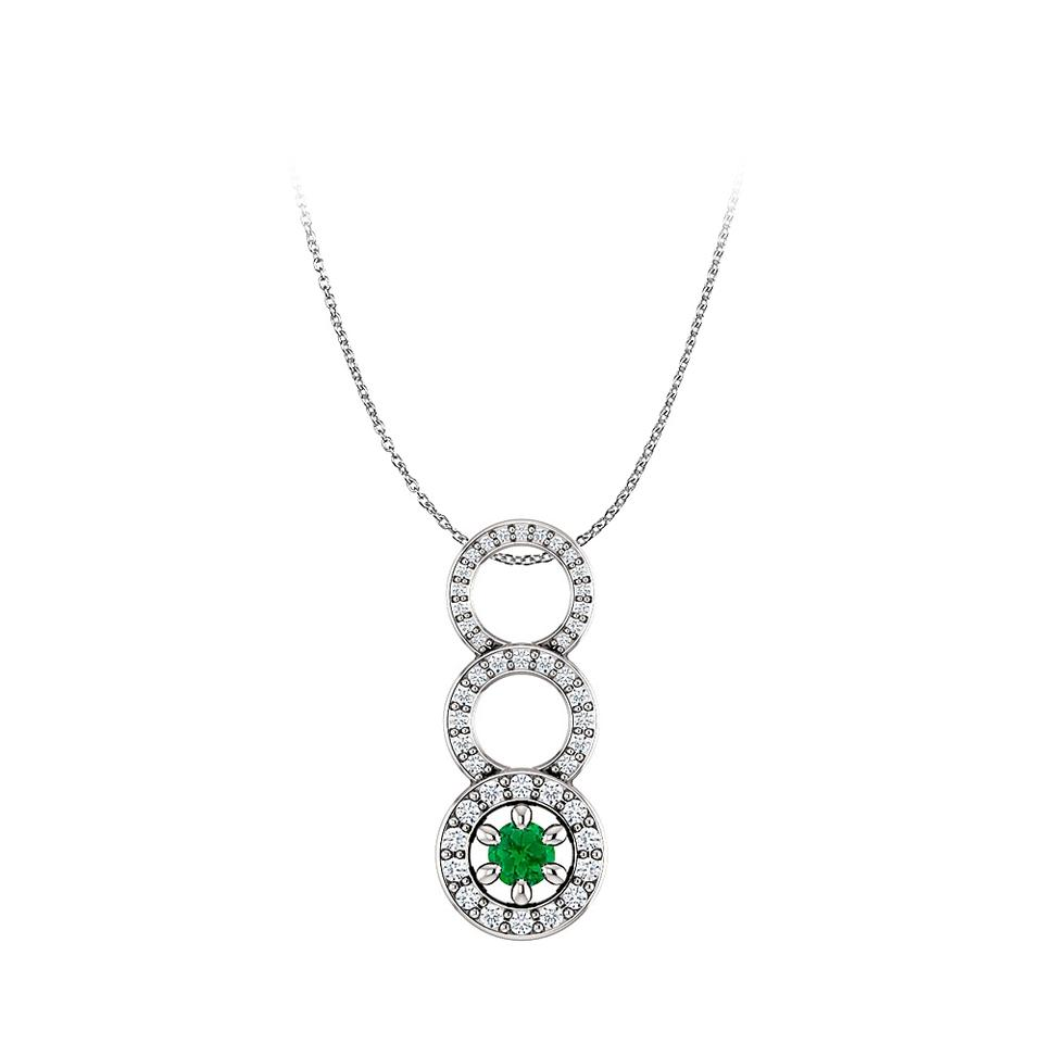 Green silver emerald and cubic zirconia graduated circle pendant marco b emerald and cubic zirconia graduated circle pendant aloadofball Choice Image