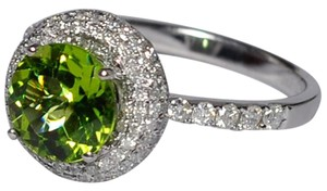 NY Collection Natural Peridot Diamond Halo Engagement Womens Unique VIntage 14K Gold