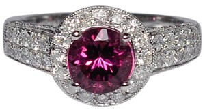 NY Collection Natural Pink Tourmaline Diamond Solitaire Halo Womens Unique 14K Gold