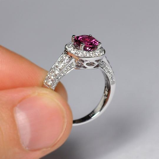 NY Collection Natural Pink Tourmaline Diamond Solitaire Halo Womens Unique 14K Gold Image 2