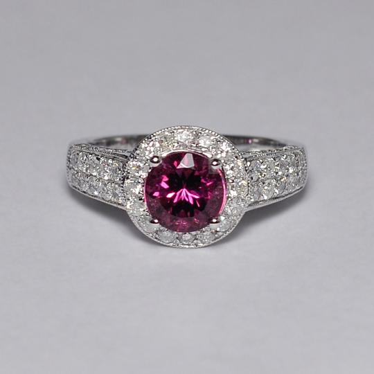 NY Collection Natural Pink Tourmaline Diamond Solitaire Halo Womens Unique 14K Gold Image 3