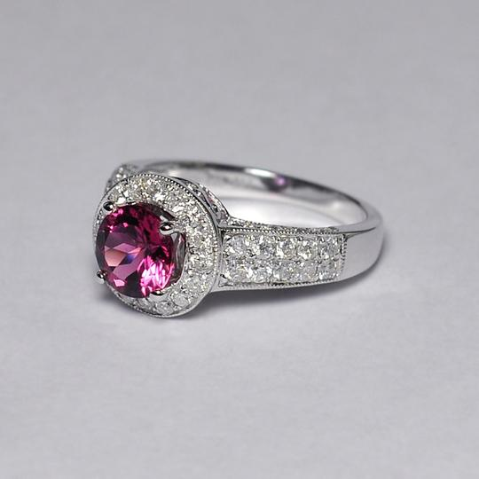 NY Collection Natural Pink Tourmaline Diamond Solitaire Halo Womens Unique 14K Gold Image 4