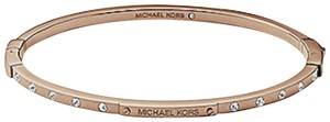 Michael Kors NWT Michael Kors Logo Rose Gold Plaque Hinge Bangle Bracelet