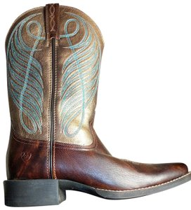 Ariat Size 9.5 Woman Leather Cowgirl Brown, bronze and blue/teal Boots