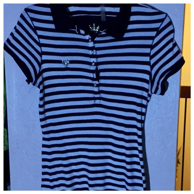 Item - Navy/White. Goldtone Striped Button-down Top Size 8 (M)