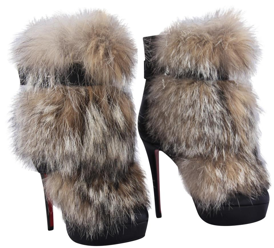 ba13c3fa6a0 Christian Louboutin Black Toundra Platform High Heel Lady Red Sole Toe Fur  Leather Ankle Italy Boots Booties