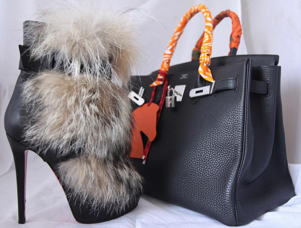 38 Lady Toundra Louboutin Christian High It Fur Black Toe Red Boots Daf Leather Platform Booties Ankle Heel tq1xwfzUx