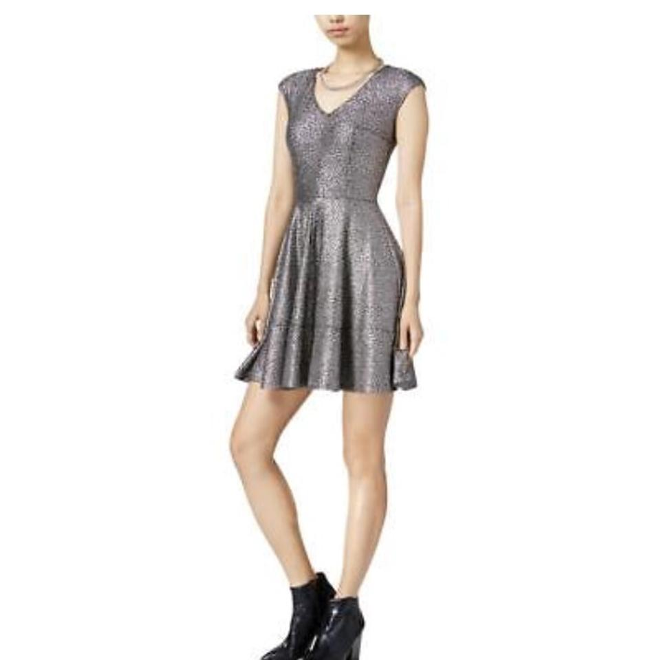 Bar III Silver Speckled Cap Sleeve Short Cocktail Dress Size 0 (XS ...