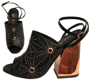 Ivy Kirzhner Leather Studded Mule Night Out Sexy Black Rose Gold Sandals