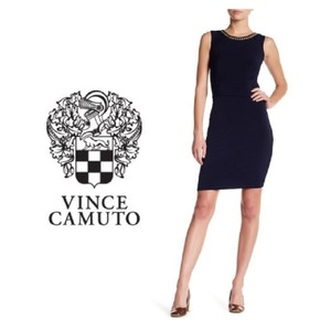 Vince Camuto Body Con Ruched Side Sleeveless Dress