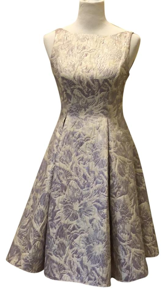 Adrianna Papell Lilac Silver Floral Metallic Jacquard Party Mid ...