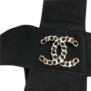 Chanel Brand New Lambskin Black Leather and Gold Hardware CC Coco Brooch