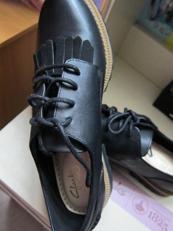 943aa68f823 Clarks Black Women's Griffin Mabel Oxford Fringed Leather Formal ...