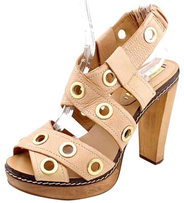Item - Beige Bcbg Max Azria Isis Women Open Toe Leather Platform Sandal Formal Shoes Size US 7.5 Regular (M, B)