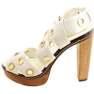 BCBGMAXAZRIA Max Azria Sandal Studded Beige Stiletto WHITE Formal