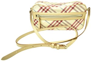 Burberry London Nova Leather Check Pink Beige Cross Body Bag