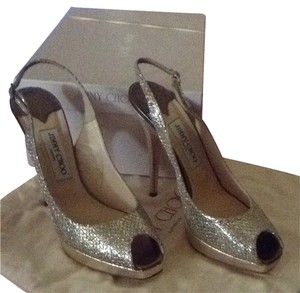 Jimmy Choo Gold Heel With Silver Pumps