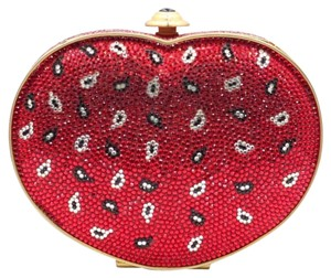 Judith Leiber Crystals Heart Evening Unique Embellished red Clutch