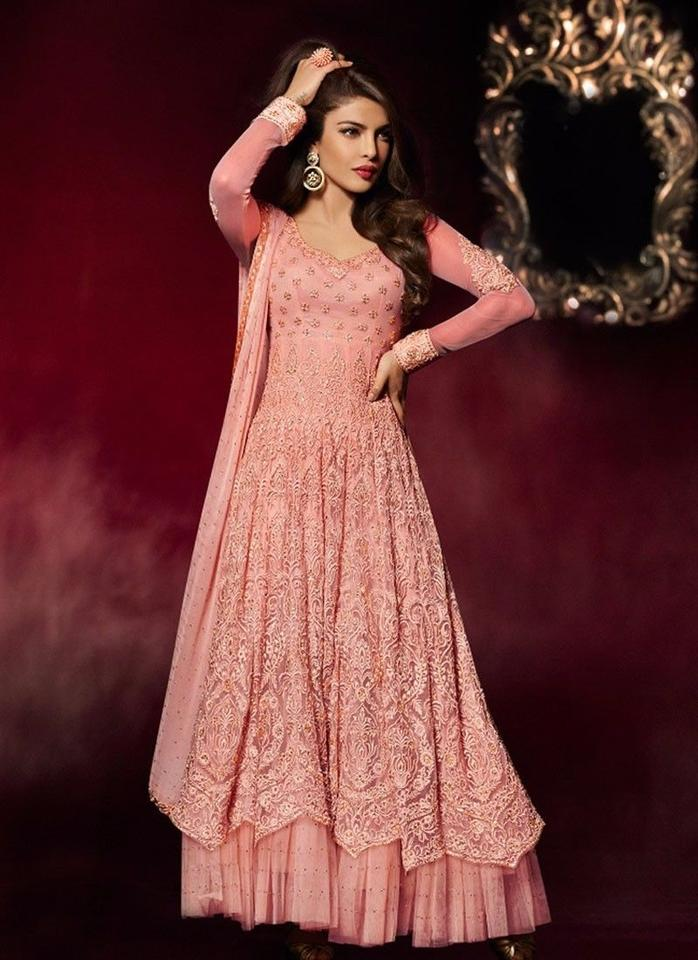 Pink Georgette Designer Indian Bridal Anarkali Gown By Wedding Dress ...