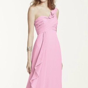 ffc1afcc6c2 David s Bridal Pink (Tickled) Chiffon One Shoulder Color Feminine Bridesmaid  Mob Dress Size