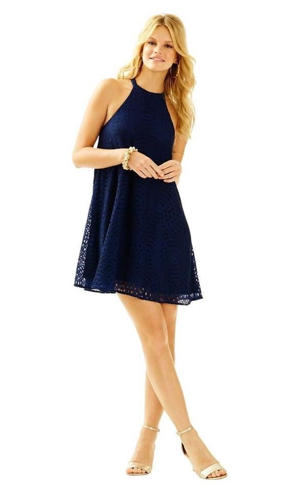 Lilly Pulitzer Navy Quinn Halter Swing In Knotty Lace Short Cocktail ...