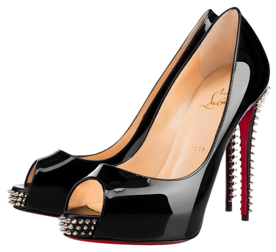 cb1bd0bde2e Christian Louboutin Black Nvps 120 Silver Spike Peep Toe A426 Pumps Size EU  40 (Approx. US 10) Regular (M, B) 16% off retail