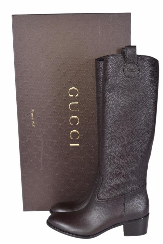 ca869e6b2 Gucci Brown New Women's 095 Leather Logo Knee High Riding Boots ...