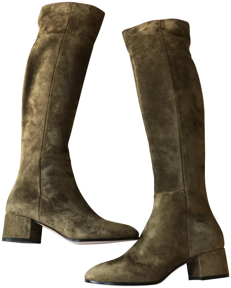 4cc89e231a4 Gianvito Rossi Brown Rolling Mid Suede Over The Knee Boots Booties ...