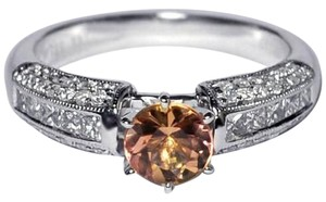 NY Collection Natural Imperial Topaz Diamond Solitaire Engagement Womens 14K Gold