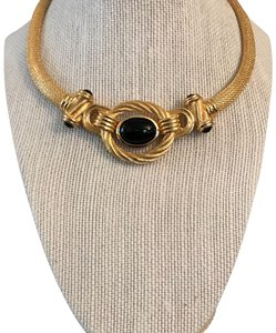 d16cbaf320 Dior Vintage Christian Dior Gold Black Stone Necklace