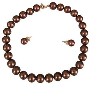 Park Lane Park Lane Brown Pearl Necklace Earrings