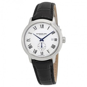 Raymond Weil Maestro Chronograph Automatic Roman Silver Dial Men's Leather Watch