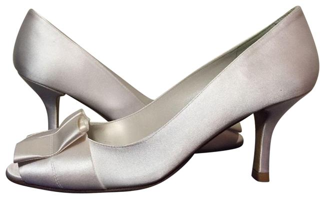 Item - White Satin Gigiritz Women's Evening High Heels Pumps N Formal Shoes Size US 6.5 Narrow (Aa, N)