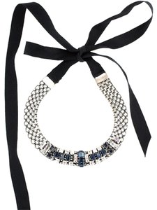 Lanvin NEW! Blue Crystal Silver Choker Necklace Made in France