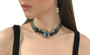 Lanvin Lanvin Paris NEW! Crystal Silver-tone Necklace Made in France