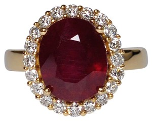 NY Collection Large Oval Ruby Diamond Statement Cocktail Halo Womens Ring 14K Gold