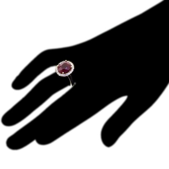 NY Collection Large Oval Ruby Diamond Statement Cocktail Halo Womens Ring 14K Gold Image 1