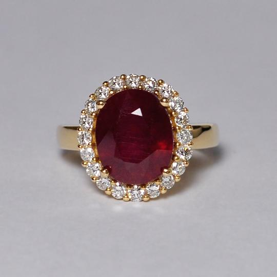 NY Collection Large Oval Ruby Diamond Statement Cocktail Halo Womens Ring 14K Gold Image 2
