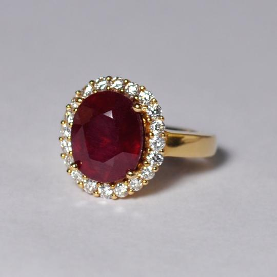 NY Collection Large Oval Ruby Diamond Statement Cocktail Halo Womens Ring 14K Gold Image 3