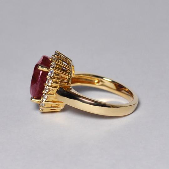 NY Collection Large Oval Ruby Diamond Statement Cocktail Halo Womens Ring 14K Gold Image 4