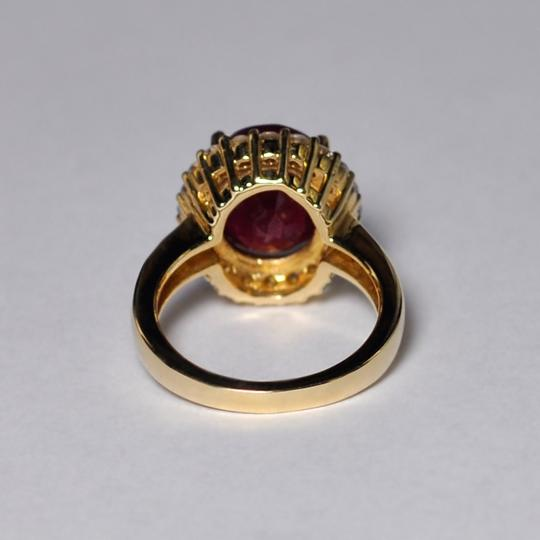 NY Collection Large Oval Ruby Diamond Statement Cocktail Halo Womens Ring 14K Gold Image 5