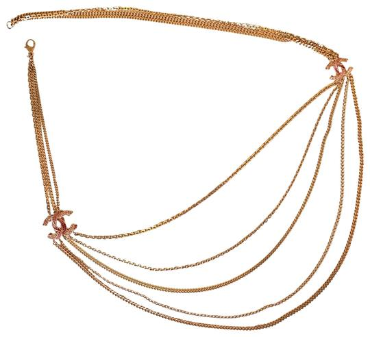 Chanel Rose Gold Chain Necklace/Belt with Pink Rhinestone CC Charms Image 1